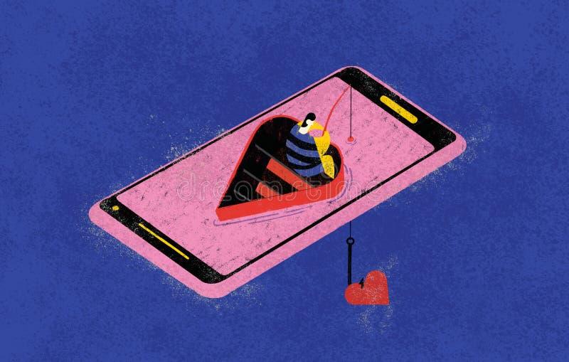 Online het dateren en liefdevissers De kleurrijke illustratie toont een online visser die naar liefdegelijke op het netwerk door  vector illustratie
