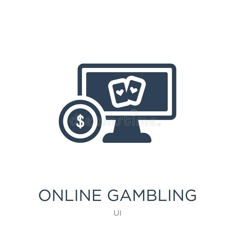online het gokken pictogram in in ontwerpstijl online die het gokken pictogram op witte achtergrond wordt geïsoleerd online het g royalty-vrije illustratie