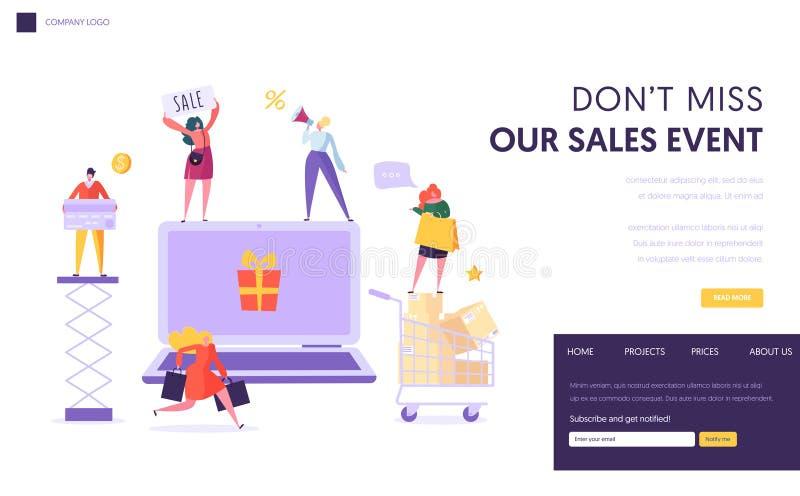 Online het Landingspaginamalplaatje van de Opslagverkoop Online Gebruikende Laptop van de vrouwenwinkel E-commerce, Consumentisme vector illustratie