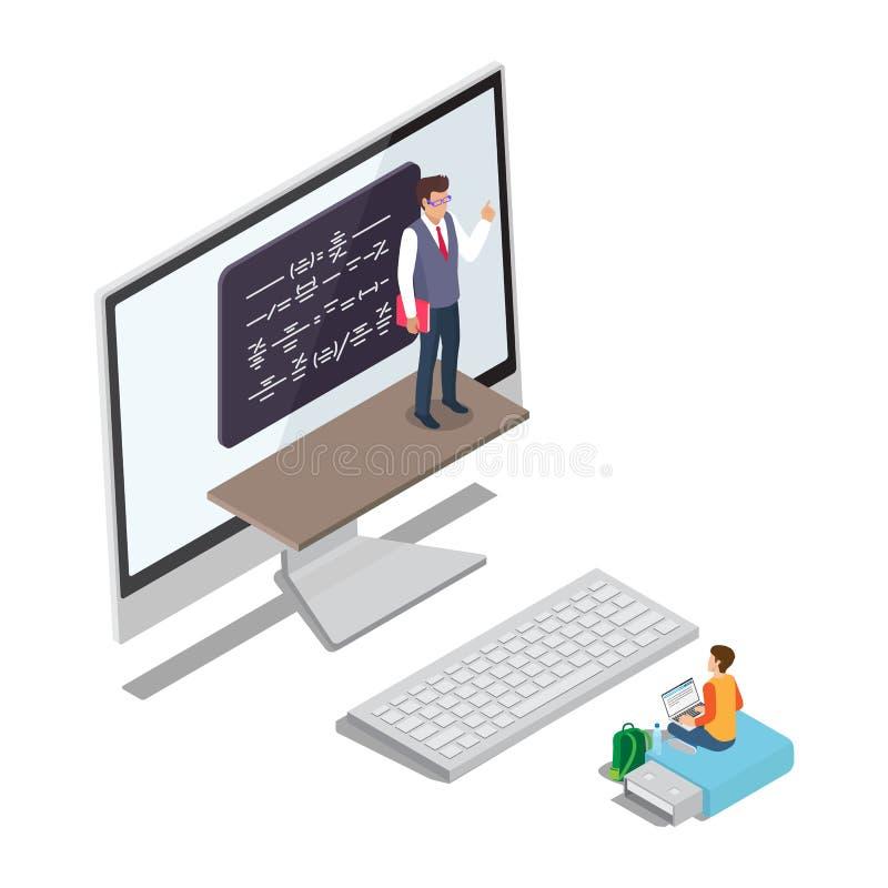 Online het Leren Conceptenvector met Leraar Pupil royalty-vrije illustratie