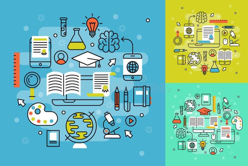 Online het leren de vlakke de leerprogramma'spersoneel van het ontwerp verre onderwijs video opleidingsopslag het leren vector va stock illustratie