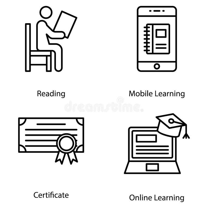 Online het leren pictogrammen royalty-vrije illustratie
