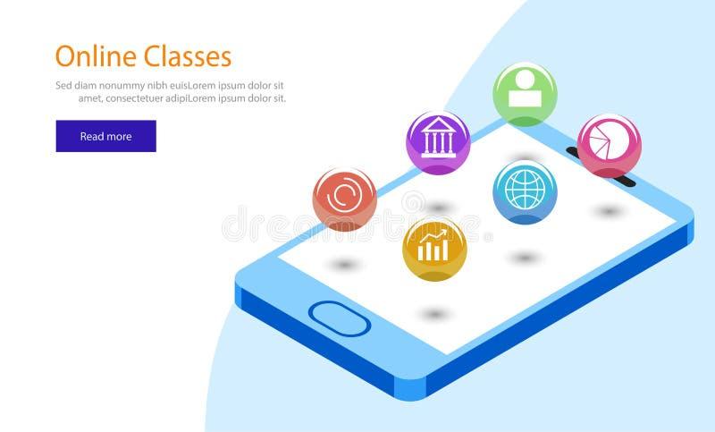 Online het malplaatjeontwerp van het Klassenweb, isometrische smartphone met mu vector illustratie