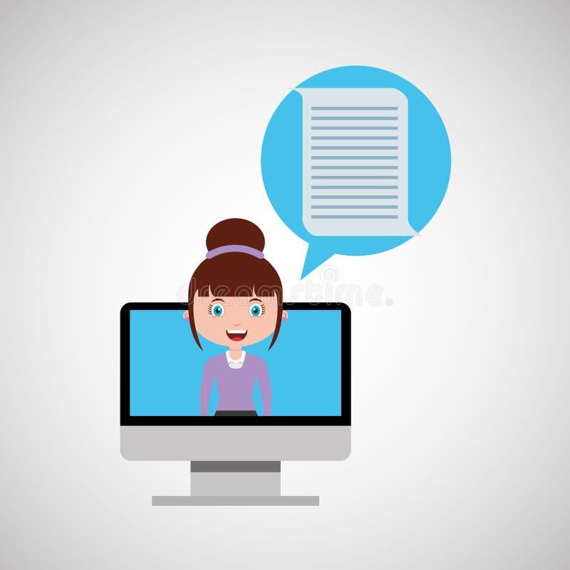 Online het ontwerpmeisje van het documentonderwijs stock illustratie