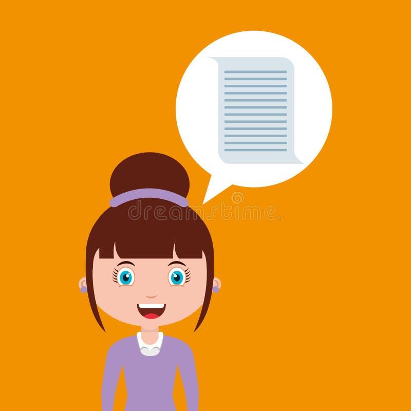 Online het ontwerpmeisje van het documentonderwijs royalty-vrije illustratie