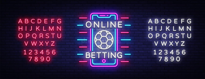 Online het wedden neonteken Sporten het wedden Online het wedden embleem, neonsymbool, lichte banner, heldere nacht reclame stock illustratie