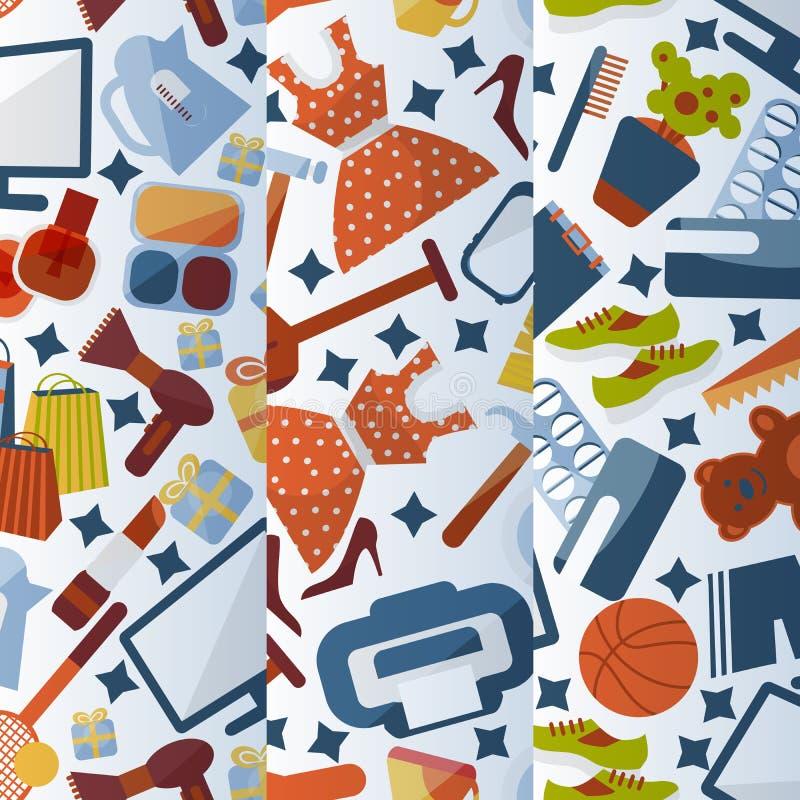 Online het winkelen achtergrondpatronen vectorillustratie Verschillende doeken, spelen, hulpmiddelen en goederen beschikbaar voor royalty-vrije illustratie