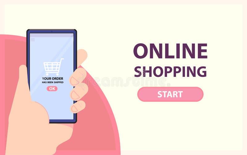 Online het winkelen banner De hand neemt telefoon met voltooide orde Vlakke stijl Vector vector illustratie