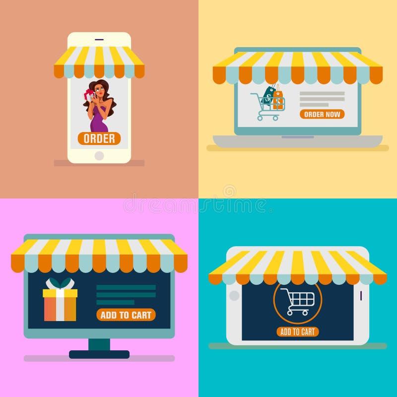Online het winkelen banner vastgesteld vectorbeeld Reeks bedrijfs werkende elementen voor digitale marketing en online het winkel vector illustratie