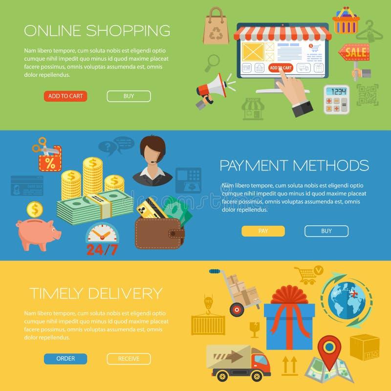 Online het Winkelen Banners stock illustratie