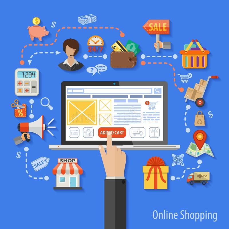 Online het winkelen concept royalty-vrije illustratie