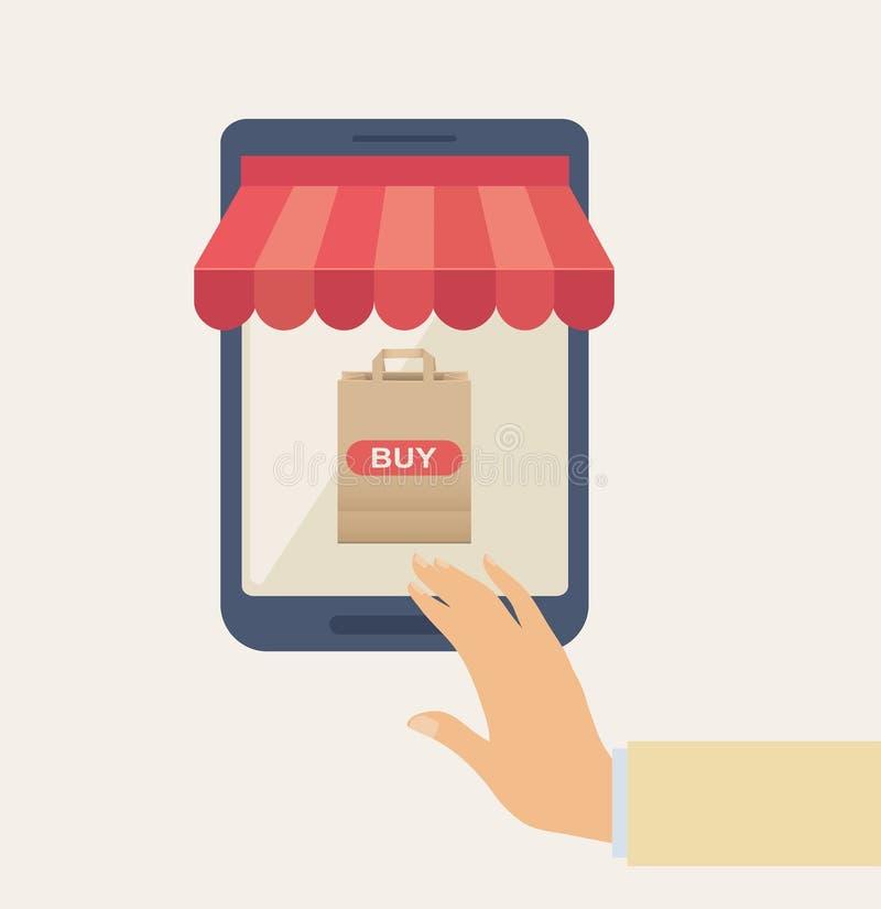 Online het Winkelen Concept met Hand op Telefoon stock illustratie
