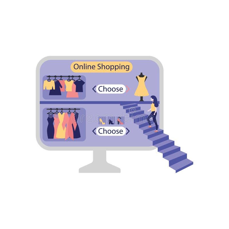 Online het winkelen concept met jong meisje die treden beklimmen aan grote computermonitor met website van Internet-opslag stock illustratie