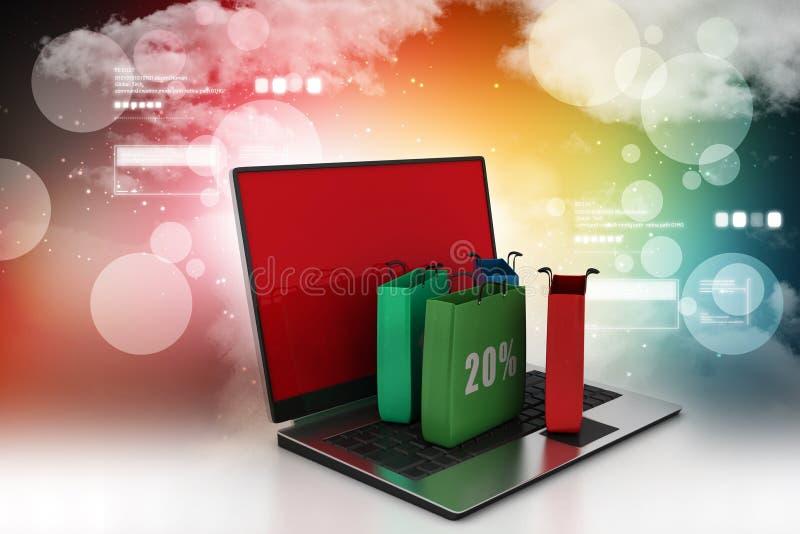 Online het winkelen concept met laptop computer royalty-vrije illustratie