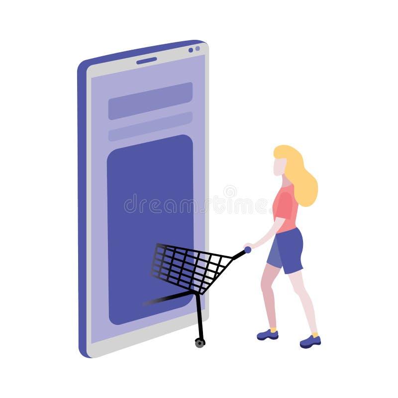 Online het winkelen concept met mand van het vrouwen de duwende karretje in toepassing van Internet-opslag op grote mobiele telef vector illustratie
