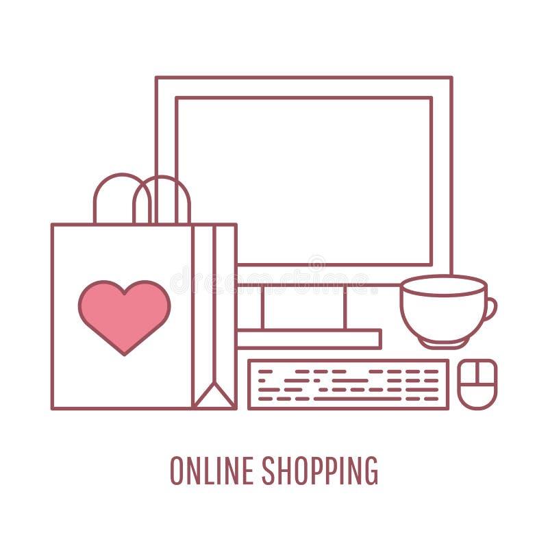 Online het winkelen en elektronische handel vector lineaire stijlillustratie royalty-vrije illustratie