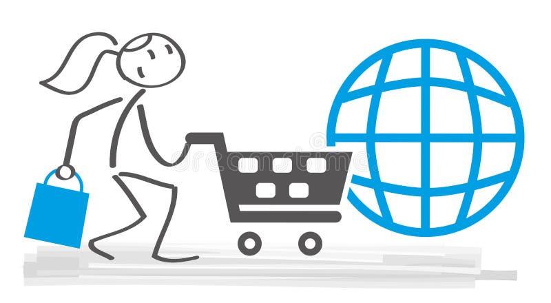 Online het Winkelen en elektronische handel vectorillustratie stock illustratie