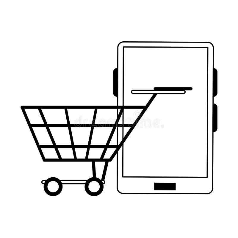 Online het winkelen en verkoopsymbolen in zwart-wit stock illustratie
