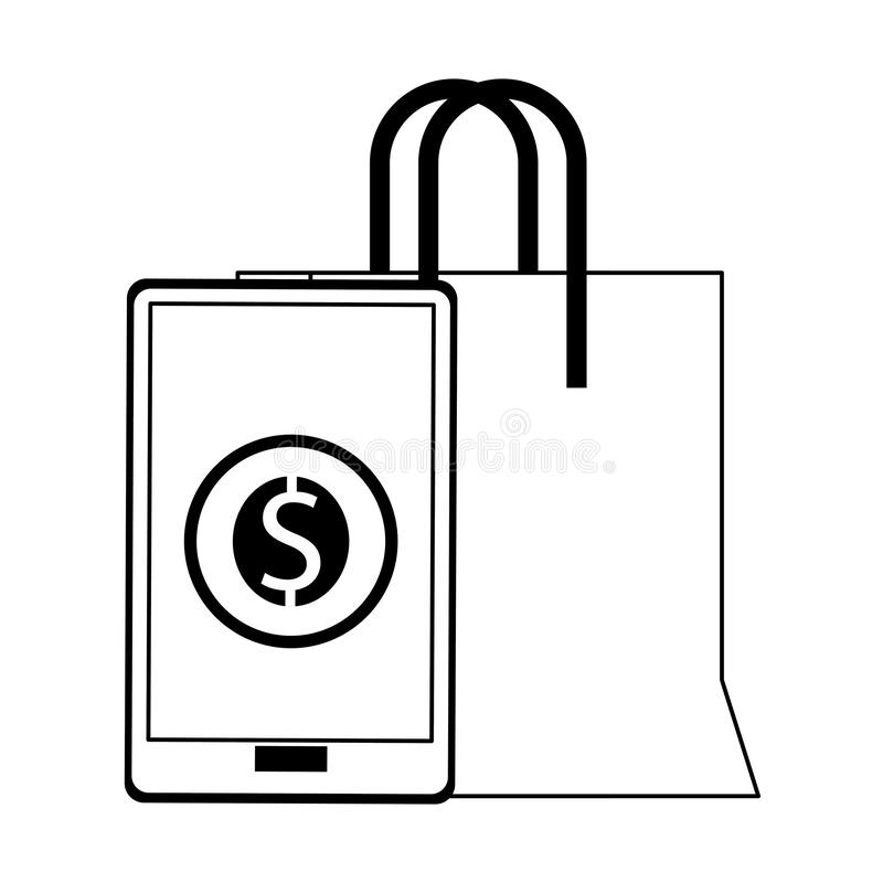 Online het winkelen en verkoopsymbolen in zwart-wit vector illustratie