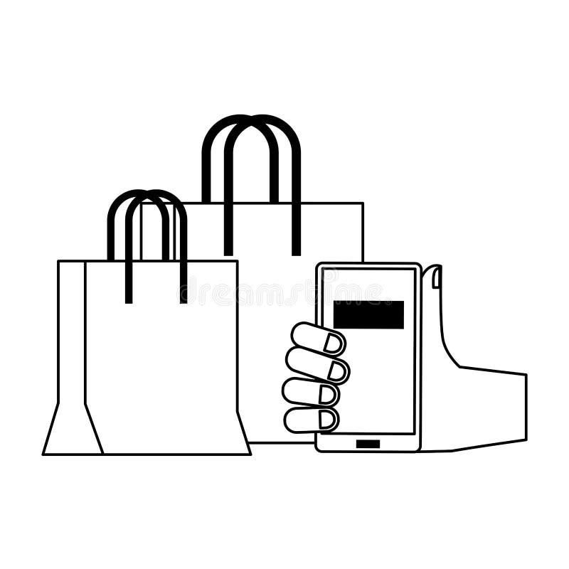 Online het winkelen en verkoopsymbolen in zwart-wit royalty-vrije illustratie