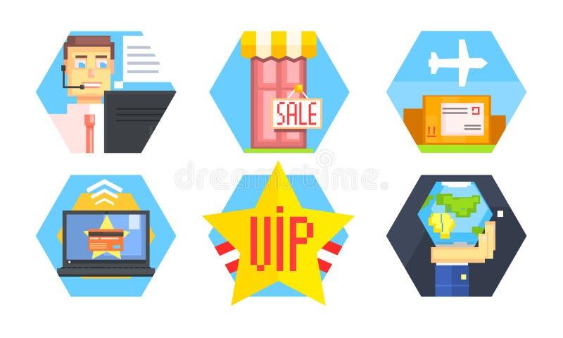 Online het Winkelen Geplaatste Pictogrammen, de Leveringsdienst, E-commerce, de Vectorillustratie van de Klantenondersteunende di royalty-vrije illustratie