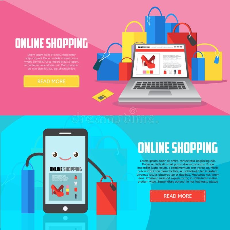 Online het winkelen horizontale banners met laptop, smartphone en aankopen royalty-vrije illustratie