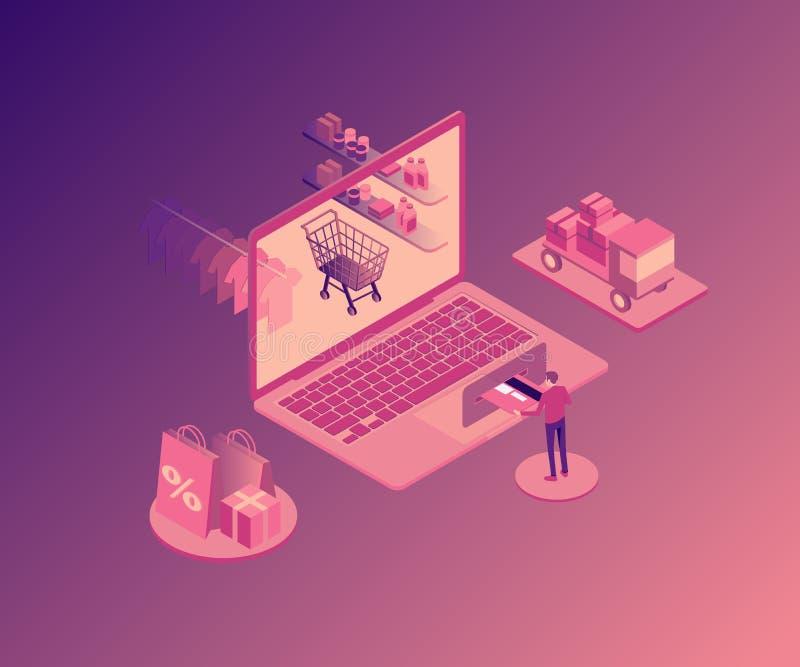 Online het winkelen isoleerde de isometrische illustratie met laptop, opslagorden, koper vectorillustratie vector illustratie