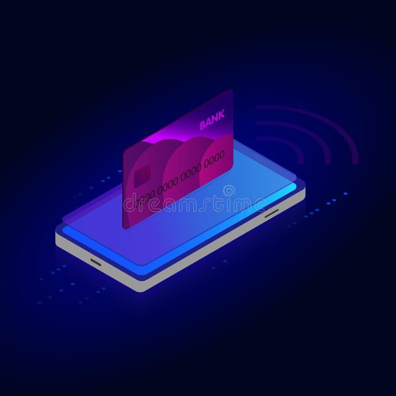 Online het winkelen isometrisch concept, Verkoop, Consumentisme en Online opslag Slimme mobiele telefoon online het winkelen ontw vector illustratie