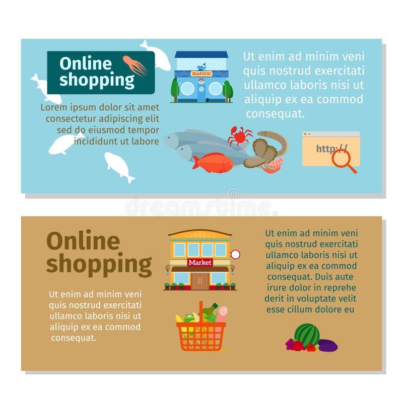 Online het winkelen kruidenierswinkel en zeevruchtenvliegers stock illustratie