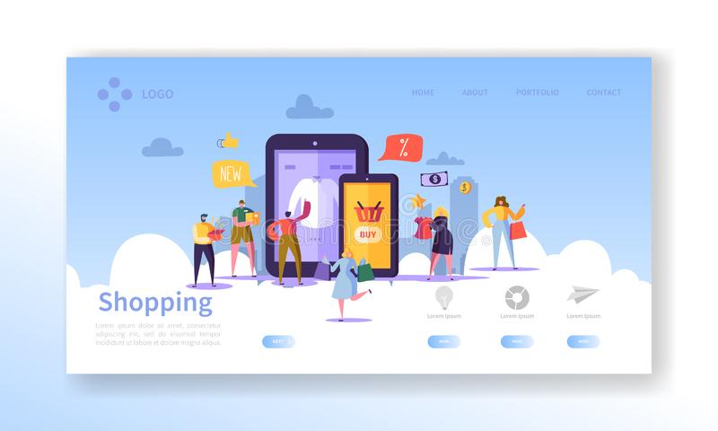 Online het Winkelen Landende Pagina Vlakke Mensenkarakters met het Winkelen het Malplaatje van de Zakkenwebsite Gemakkelijk uit t royalty-vrije illustratie