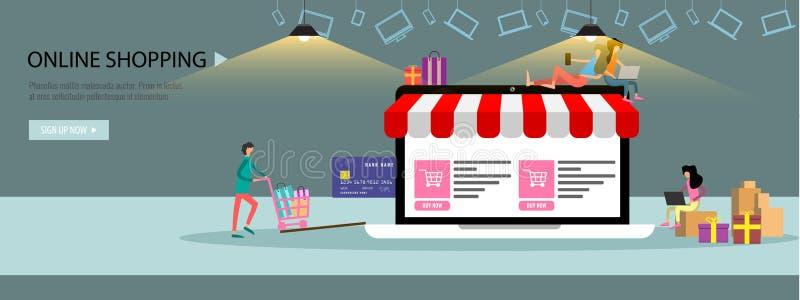 Online het winkelen of online het Landingspaginamalplaatje of banner van het opslagconcept met uiterst kleine mensen grote laptop vector illustratie