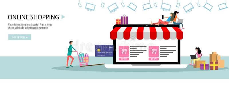 Online het winkelen of online het Landingspaginamalplaatje of banner van het opslagconcept met uiterst kleine mensen grote laptop royalty-vrije illustratie