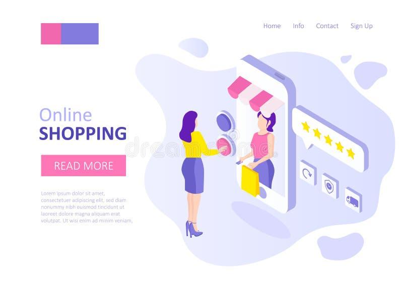 Online het winkelen malplaatje voor stock illustratie