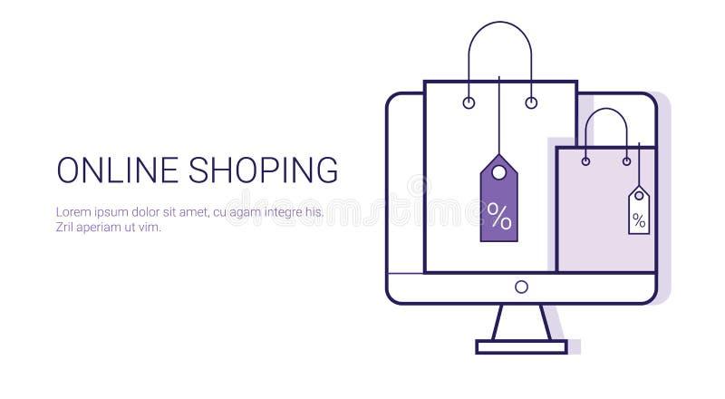 Online het Winkelen Mobiele van het van de Bedrijfs betalingselektronische handel het Webbanner Conceptenmalplaatje met Exemplaar stock illustratie
