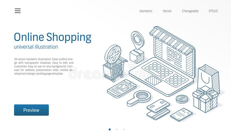 Online het Winkelen moderne isometrische lijnillustratie Levering, kar, laptop opslag bedrijfsschets getrokken pictogrammen Elekt stock illustratie