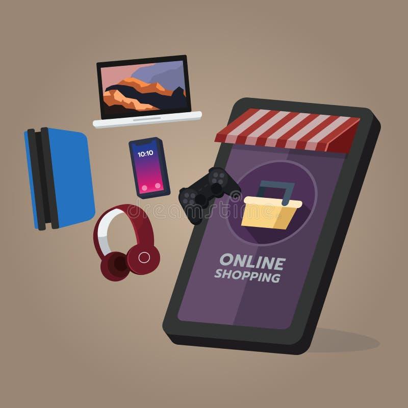 Online het winkelen opslag, de orde van het elektronische en spelapparaat Op het mobiele scherm stock illustratie