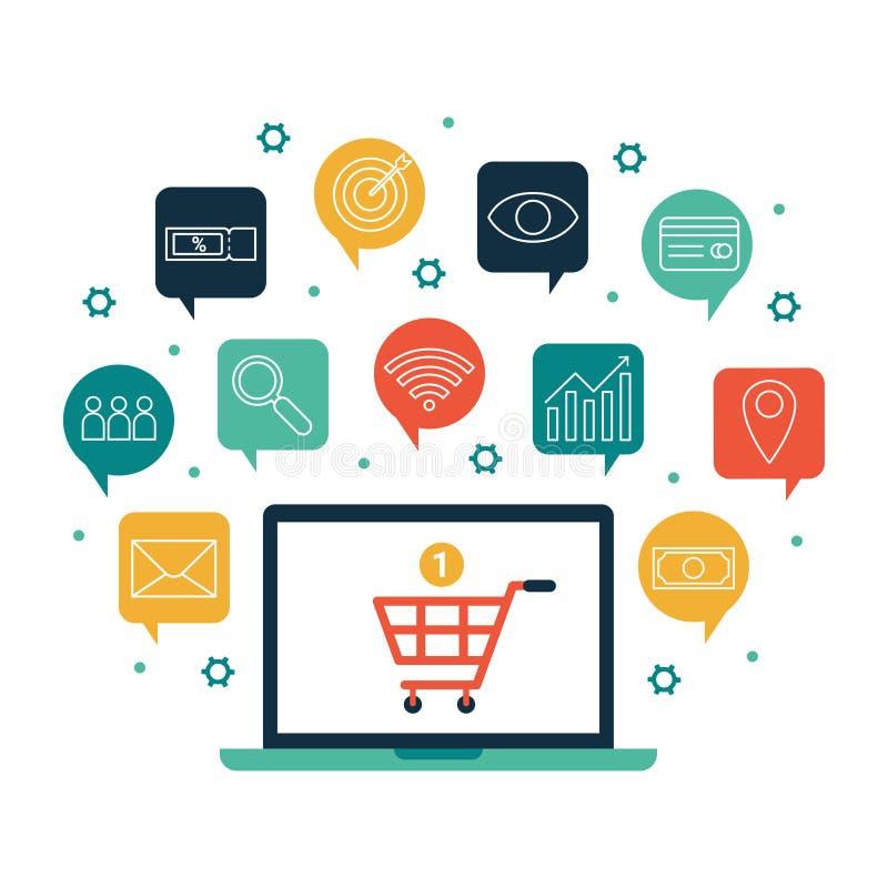 Online het winkelen opslagconcept, het commerciële infographic vlakke ontwerp van Internet stock illustratie