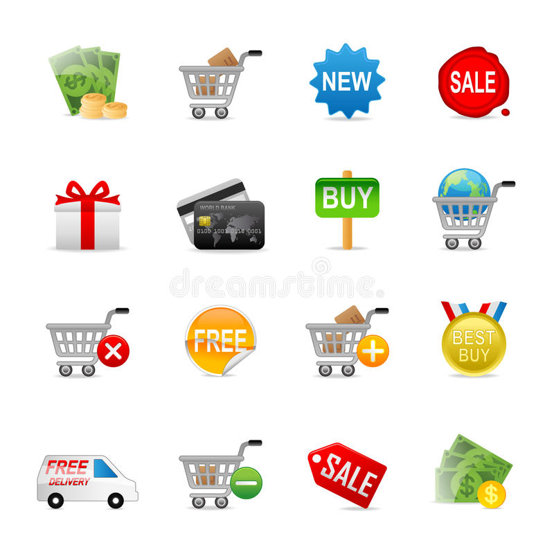 Online het winkelen pictogrammen vector illustratie