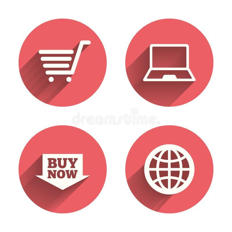 Online het winkelen pictogrammen Notitieboekjepc, kar, koopt royalty-vrije illustratie