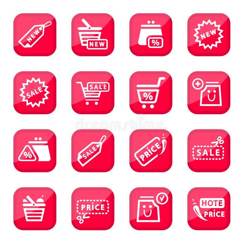 Online het winkelen pictogramreeks vector illustratie