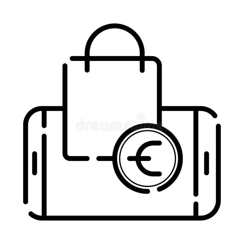 Online het winkelen pictogramvector stock illustratie