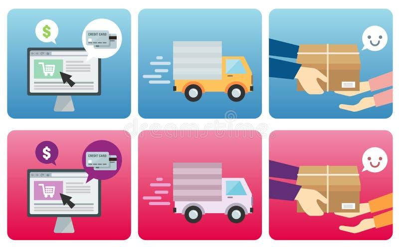 Online het Winkelen Proces royalty-vrije illustratie
