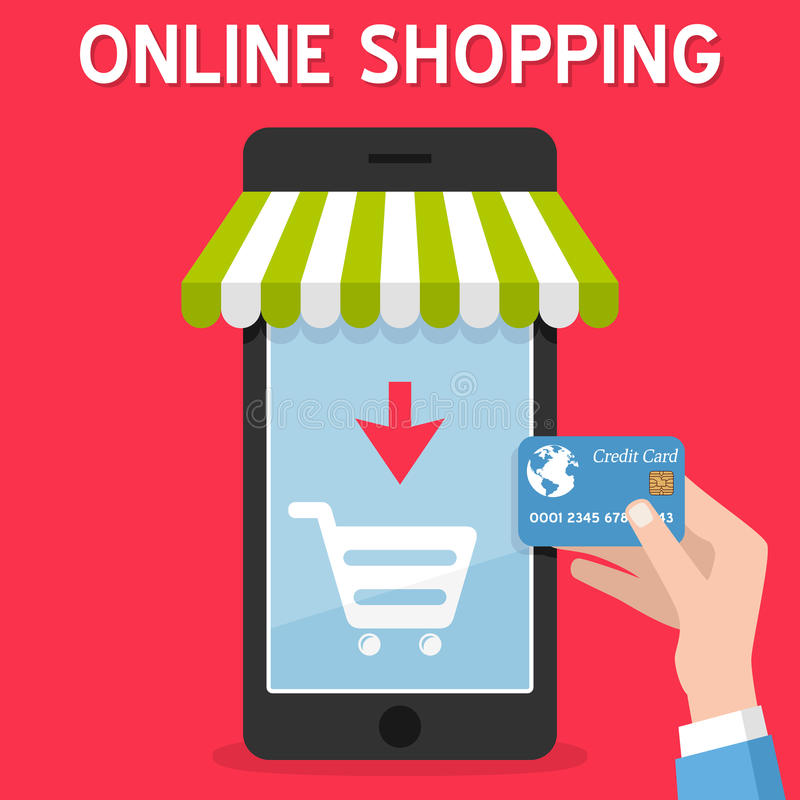 Online het Winkelen van Smartphone Creditcard royalty-vrije illustratie