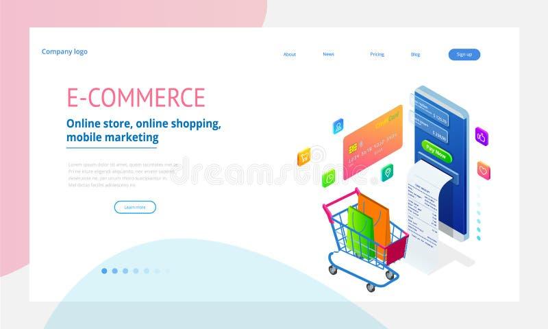 Online het winkelen, Verkoop, Consumentisme en Online opslag Isometrisch Slim smartphone online het winkelen malplaatje mobile royalty-vrije illustratie