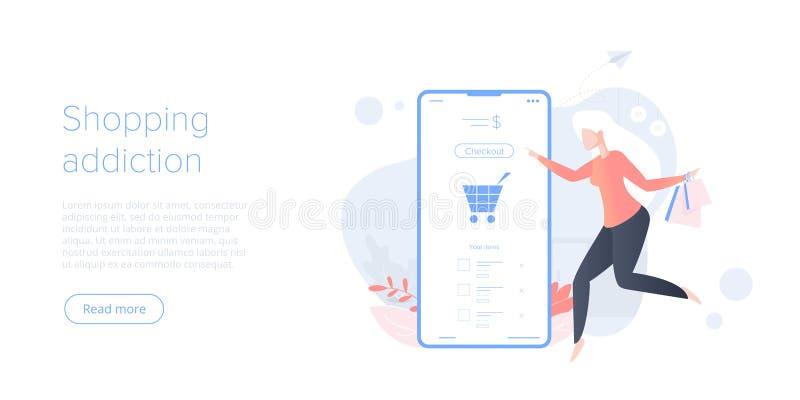 Online het winkelen verslaving of e-commerce vlakke vectorillustratie Internet-de procedureconcept van de opslagcontrole met smar royalty-vrije illustratie