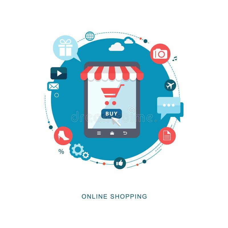 Online het winkelen vlakke illiustration royalty-vrije illustratie