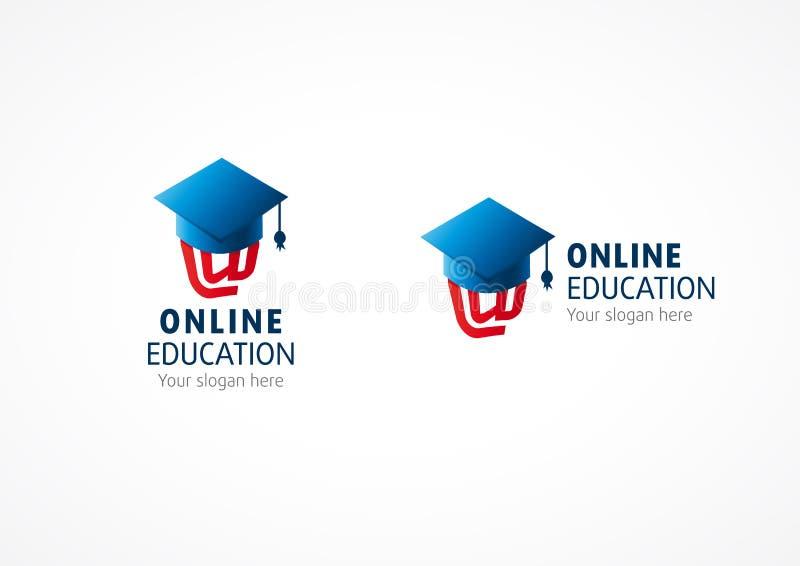 Online high school graduation vector logo. E-mail arroba at symbol under square oxford academic cap. Internet college education sign. Network science debate vector illustration