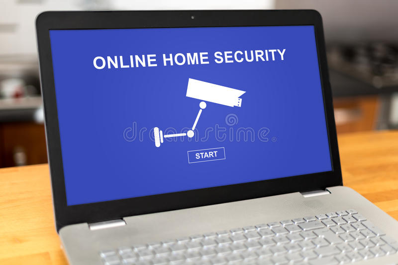Online home security concept on a laptop. Laptop screen with online home security concept royalty free stock images