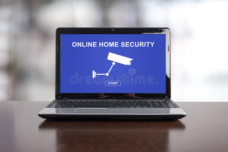 Online home security concept on a laptop. Screen royalty free stock photo