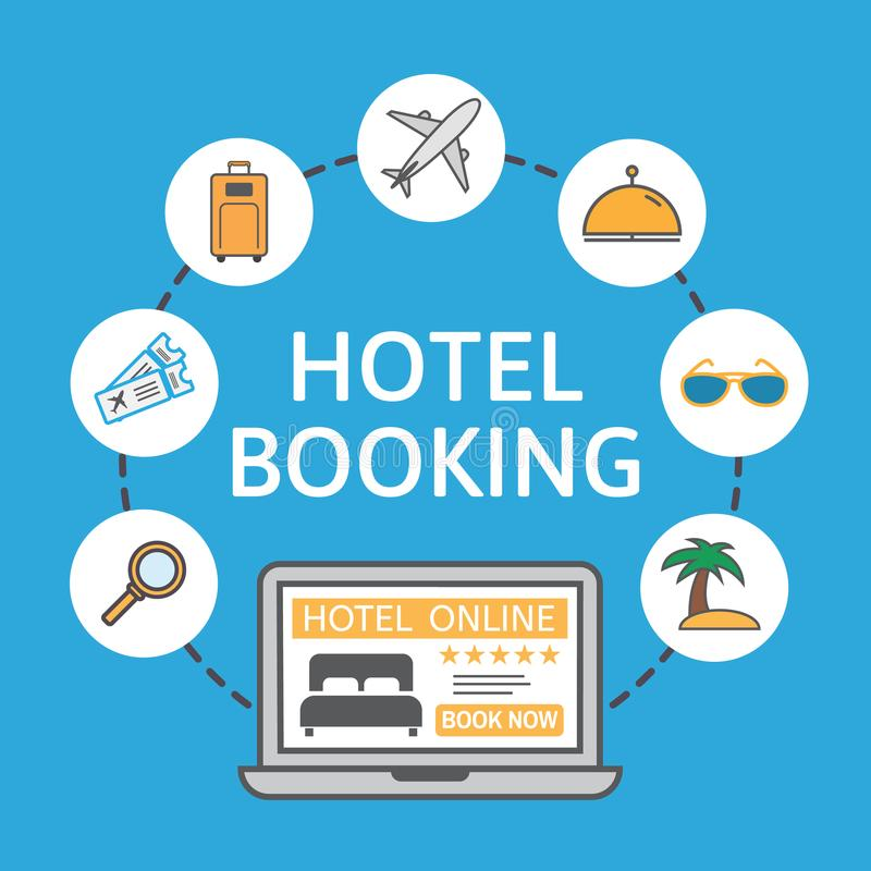 Online hotel booking. Laptop with holiday icons. Holiday vacation concept. Renting accommodations. Book button and bed. Icon on screen. Vector illustration royalty free illustration